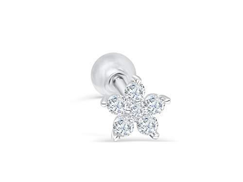 Rhodium Plated Star Earrings - ONDAISY 14k Rhodium Plated Simulated Diamond Cz Flower Star Constellation Snowflake Ear Barbell Ball Stud Earring Piercing