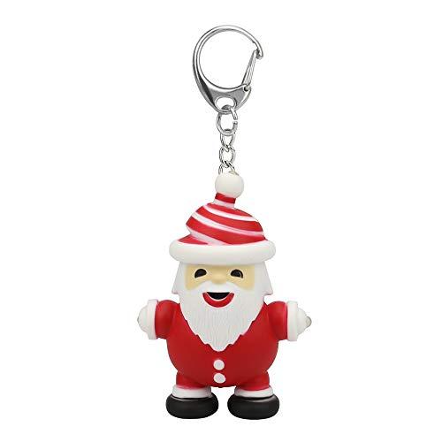CMrtew ❤️ Christmas Man Cartoon Keychain with LED Light Sound Keyfob Kids Toy Gift (Red, 20g)