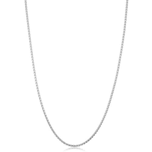 White Gold Round Locket - Kooljewelry Sterling Silver Round Wheat Chain Necklace (1.5 mm, 24 inch)