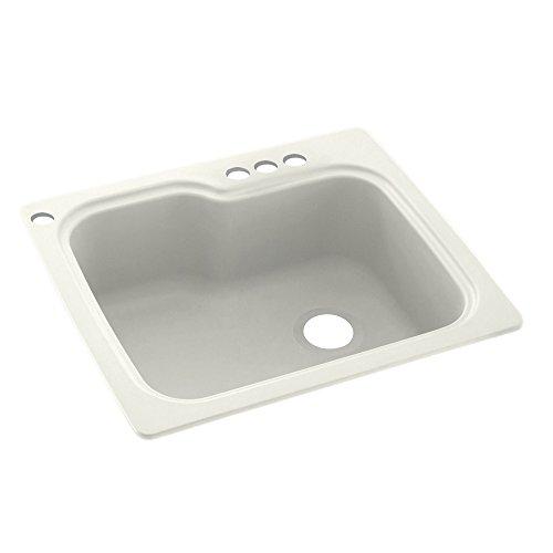 Swanstone Bisque (Swaoi|#Swanstone KS02522SB.018-4 25-In X 22-In Solid Surface Kitchen Sink 4-Hole, Bisque,)