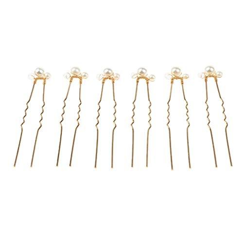 6x Bridal Shiny Pearl Hair Pin DIY Hair Set Clip Handmade Headdress Jewelry]()