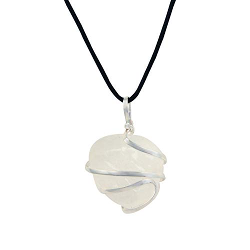 Raw Selenite Crystal Pendant Necklace –for Personal Transformation, Clarity of Mind, Cleanse The Aura from Negativity, Releive Stress and Anxiety - Authentic Stone on Adjustable Length Necklace ()