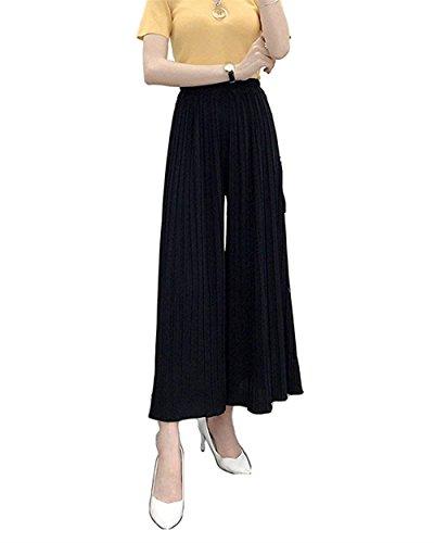 Pantalon Loisir Élastische Détente Élégant Femme Tendance Noir Confortable Aéré Fille Taille Style Large Mode Party Été Jeune rPqtwrH