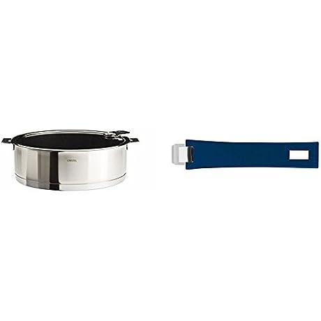 Cristel Strate S26QLEKSA Saute Pan 4 5 Quart Silver With Cristel Mutine Pmaeb Handle Long Blue Ink