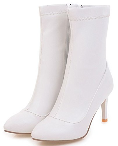 Mofri White High Pointed Women's Mid Boots Toe Calf Heel Sexy Zipper Side Stiletto aaWTxOq