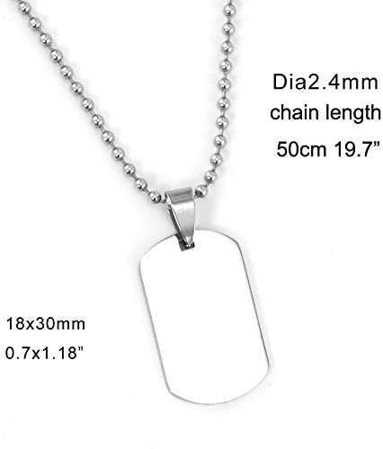 Stainless Steel Classic Dog Tag Pendant Necklace Women Beads Chain Blank ID Tag Charm Necklace Men Wholesale 10pcs Metal Color: 18x30 50cm Chain