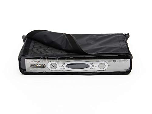 Covermates - Cable Box Cover Deluxe - Fits 17 Inch Width, 13 Inch Depth and 3 Inch Height - Classic - 12-Gauge Vinyl with Polyester Backing - Full Coverage - 2 Year Warranty - Water Resistant - Black (Tv Cable Box Cover Outdoor)