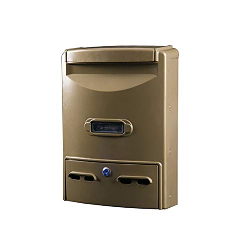 - LXJYMX Villa European outdoor cast aluminum newspaper box, large mailbox -Outdoor waterproof mailbox (Color : Coffee gold)