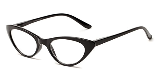 Readers.com The Brit +1.00 Black Cat Eye in Leopard or Black 1960s Style Glasses Reading - Style 1960s Glasses