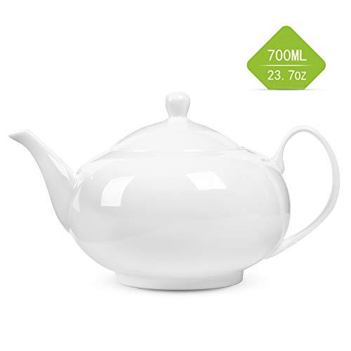 Suteas White 24-ounce/700ml Bone China Teapot/Porcelain Teapot - Perfect Size/2-3 Cups for family/office