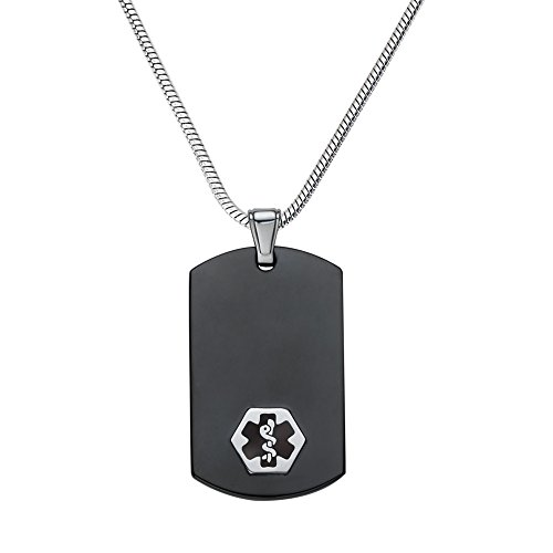 Divoti Custom Engraved Chic Black & Silver 316L Medical Alert Necklace-Dog Tag-24 Stainless Snake Chain-Black ()