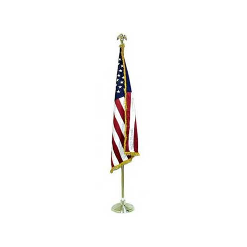 Low Cost Indoor American Flag and Pole Kit with Cotton Flag