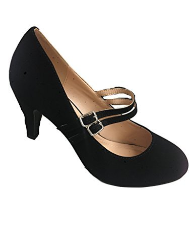 Chase & Chloe Kimmy-61 Women's Mary Jane Double Strap Buckle Pump (8 B(M) US, Black)