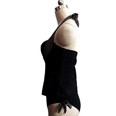 HHBO Mujer Con Cordones Tankini MonocolorBloques Black
