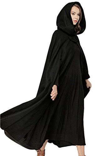BIRAN Femme Chale  Capuchon Vintage Elgante Longues Cape Hiver Outerwear Automne Fashion Bouffant breal Dsinvolte Unicolore Poncho Manteau Noir