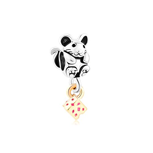 LovelyJewelry Greedy Cute Mouse Grabbing Golden Cheese Animal Charm Beads For Bracelets