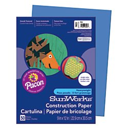 "Price comparison product image SunWorks 7403 Construction Paper,  9"" x 12"",  50 Sheets / Pack,  Blue"