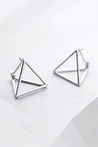 Womens Ring Triangular (KENHOI Beauty s925 silver korean women gift ideas geometric dimensional triangular earrings earings dangler eardrop pierced women girls accessories)