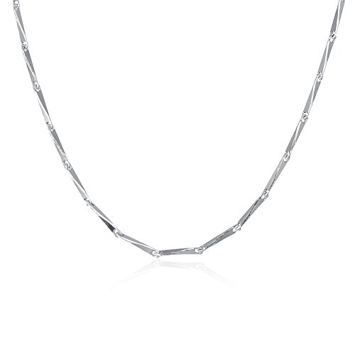 COCOBAR Sterling Silver 0.5mm-1mm Chain Necklace -Several styles (16, Bamboo chain) by COCOBAR (Image #6)