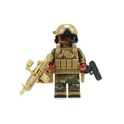 Battle Brick US Army Gunner African American Infantry Custom Minifigure: Toys & Games