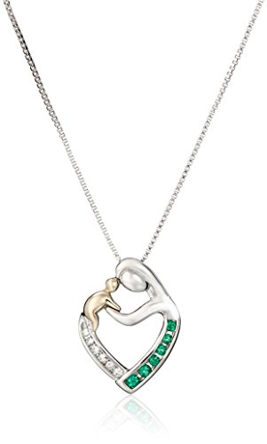 Sterling Silver and 14k Yellow Gold Created Emerald and Diamond Mothers Jewel Heart Pendant Necklace (.037 cttw, I-J Color, I2-I3 Clarity), 18""