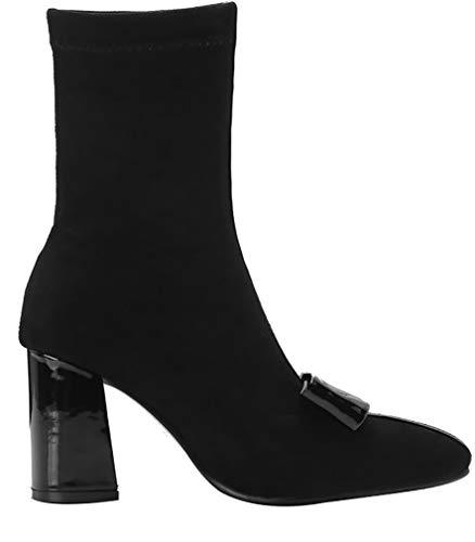 Block ankxio 8CM Black Heel On Calaier Boots Pull Women 6FxXTP
