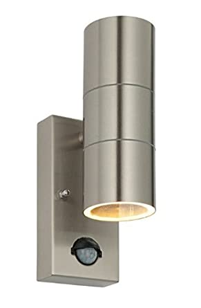 Wall Lamps With Pir : PIR Stainless Steel Double Outdoor Wall Light With Movement Sensor IP44 ZLC08DSEN Up/Down ...