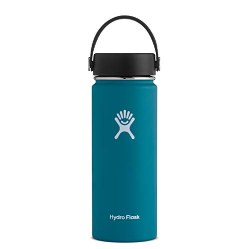 Hydro Flask Water Bottle - Stainless Steel & Vacuum Insulated - Wide Mouth with Leak Proof Flex Cap - 18 oz, Jade