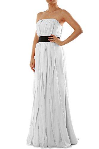 a MACloth Donna Vestito Senza linea White maniche ad FwTtHq