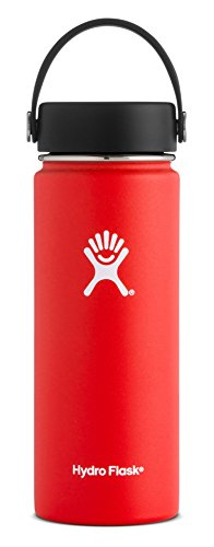 Outdoor 1.1 Quart Bottle (Hydro Flask 18 oz Double Wall Vacuum Insulated Stainless Steel Leak Proof Sports Water Bottle, Wide Mouth with BPA Free Flex Cap, Lava)