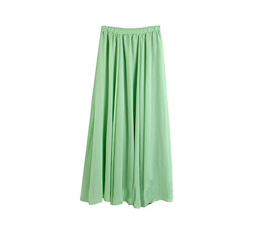 Matcha Long Wow Pour Femmes Vêtements De Jupes Couche En Boho Double Green Maxi Plage Mousseline OOTpx