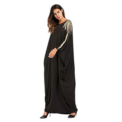 Casual Mujer Cuentas Murciélago Hui Maxi Gran Baoffs Señoras Holgado Vintage Musulmán Vestido Las Para Con Tamaño De Dubai XzwXqnaF