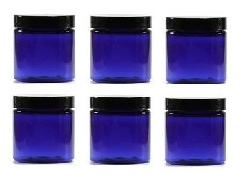 Plastic Jars - Set of 6 (8 oz, with Black Lids) ()