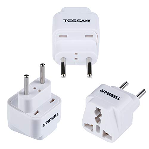 TESSAN Grounded Universal Travel Power Strip European Plug Adapter USA to the more of Europe Travel Prong Converter Adapter Plug Kit for the more of Europe(Type C)- 3 Pack(WHITE)