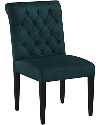 Christopher Knight Home 302603 Deanna Tufted Teal Velvet Dining Chair with Roll Top (Set of 2), - 6