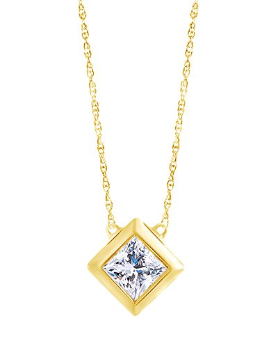 (Princess Cut White Natural Diamond Solitaire Pendant Necklace in 14K Solid Yellow Gold (0.20 Cttw))