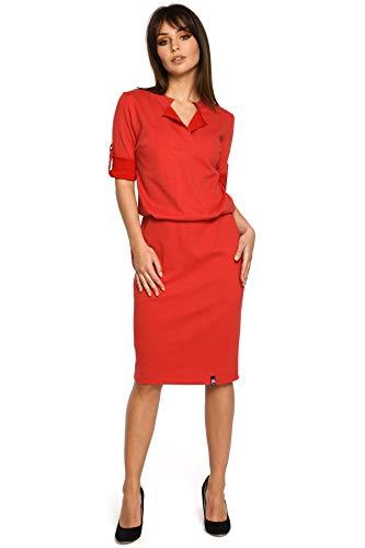 Stehkragen Rot Kleid Plisseefalte Halsausschnitt und am mit Clea qnEwHZd0q