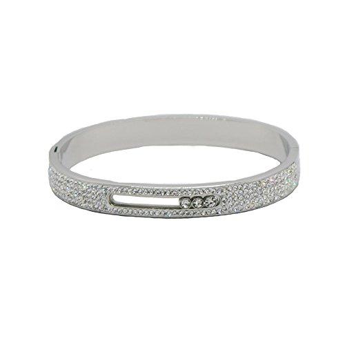 Baoli Titanium Pave Rhinestone 3 Moving Diamond Women's Bangle (silver)