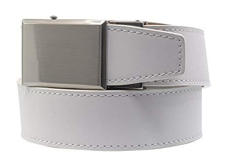 2019 Shield V.3 White Leather Golf Belt for Men with Adjustable Ratchet Buckle - Nexbelt Ratchet System Technology