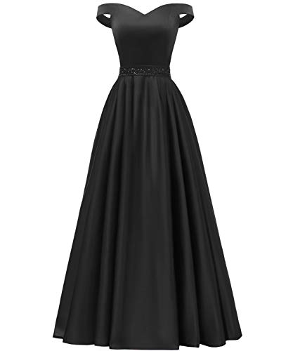 YORFORMALS Women's Off The Shoulder A-line Beaded Satin Evening Prom Dress Long Formal Gown with Pockets Size 6 Black