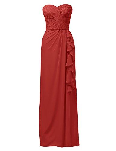 Alicepub Red Prom 2017 Ruffles Evening Bridesmaid Split Side Party Gown Dress Long 7qP7URx