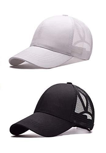 M_Eshop 2 Pack of Women Girls High Ponytail Baseball Hat Cap (White+Black)