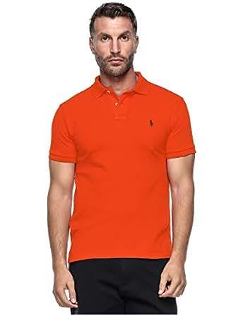 Polo Ralph Lauren Custom Fit Short Sleeve Mesh Polo Shirt For Men - Small, Orange