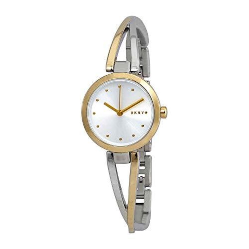 (DKNY Crosswalk Quartz Silver Dial Two-Tone Ladies Watch NY2790)
