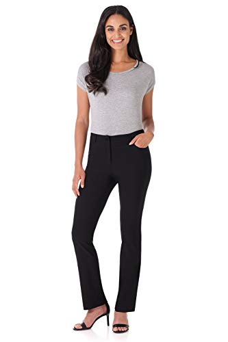 Rekucci Women's Iconic Stretch 5 Pocket Straight Leg Pant w/Zipper Closure (4,Black) ()
