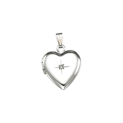 (Sterling Silver 925 Heart Shaped Genuine Diamond Locket Pendant 2.25x14.25MM)