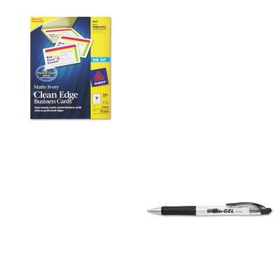 KITAVE49988AVE8876 - Value Kit - Avery Two-Side Printable Clean Edge Business Cards (AVE8876) and Avery eGEL Roller Ball Retractable Gel Pen (AVE49988)
