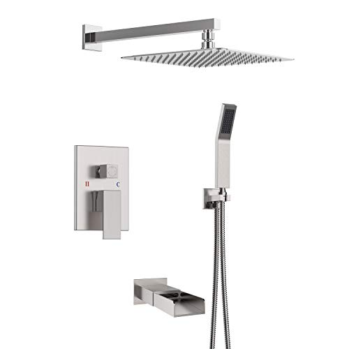 (SR SUN RISE Bathroom Luxury Rain Mixer Shower Tub Spout Combo Set Wall Mounted Rainfall Shower Head System Brushed Nickel)