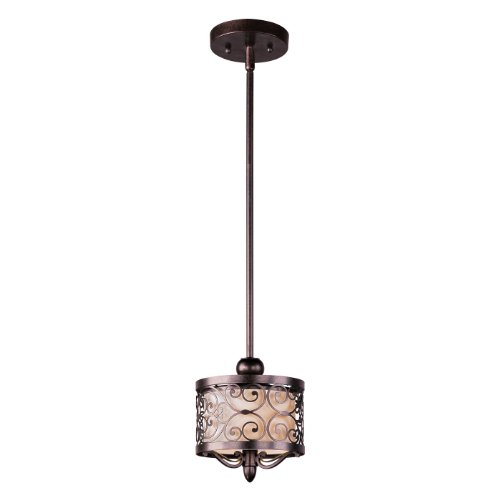 Maxim Lighting 91150WHUB Mondrian 1-Light Mini Pendant, Umber Bronze Finish with Off White Fabric (Light Forged Iron Mini Pendant)