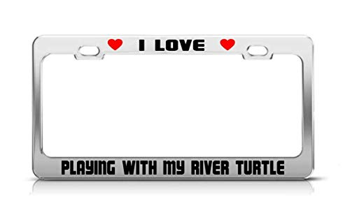 Keliteu I Love Playing with My River Turtle Animal License Plate Frame Tag ()